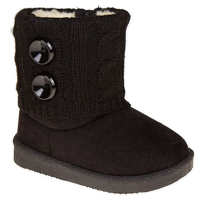 Alternate image 1 for Stepping Stones Size 5 Toddler Faux Suede Button Sweater Boots in Black