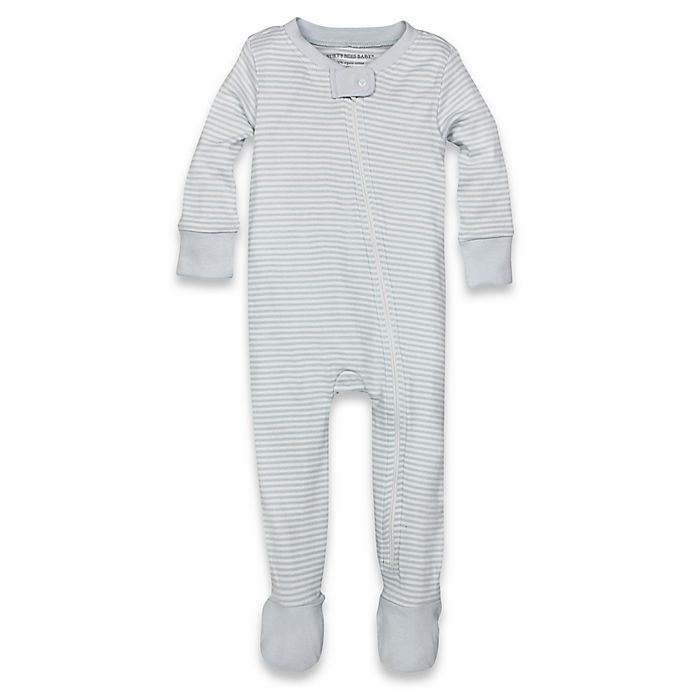 0c4f99750 Burt s Bees Baby® Organic Cotton Footed Pajama in Light Blue Stripe ...