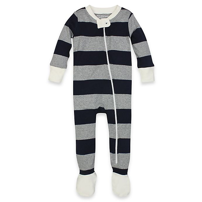 149cd37c6e72 Burt s Bees Baby® Rugby Stripe Organic Cotton Footed Pajama in Navy ...