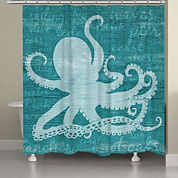 Laural Home® Octopus Words Shower Curtain in Teal