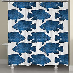 Laural Home® Indigo Fish Shower Curtain