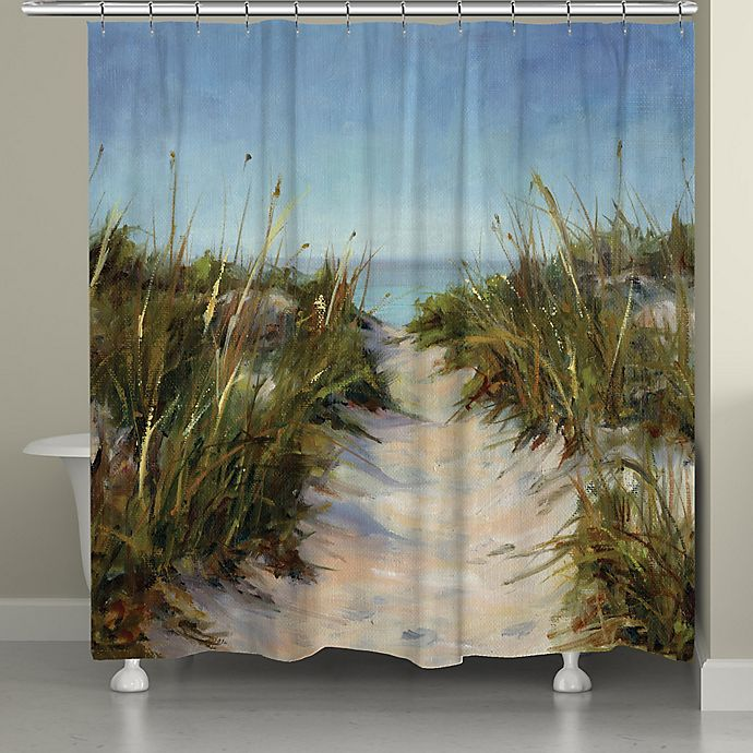 Alternate image 1 for Laural Home® Sand Dunes Shower Curtain in Blue/Green