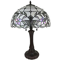 Tiffany Style Floral Table Lamp in Mahogany with Stained Glass Shade