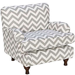 Skyline Furniture Sherman Kids Chair in Zig Zag Ash White