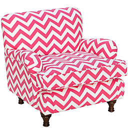 Skyline Furniture Sherman Kids Chair in  Zig Zag Candy Pink