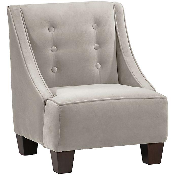 Skyline Furniture Wilson Kids Chair In Velvet Light Grey