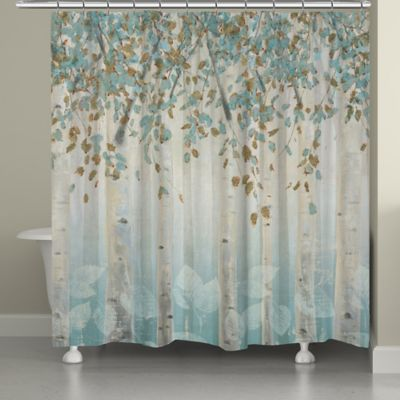 Laural home dream forest shower curtain in grey blue - Bathroom items that start with l ...