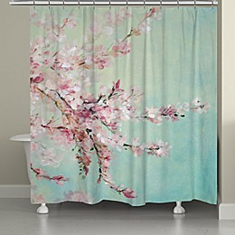 Laural Home® Cherry Blossoms Shower Curtain in Blue/Pink