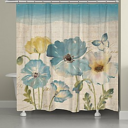 Laural Home® Poppies Shower Curtain in Teal