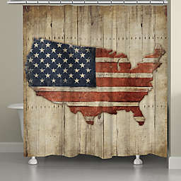 Laural Home® Wooden Flag Shower Curtain