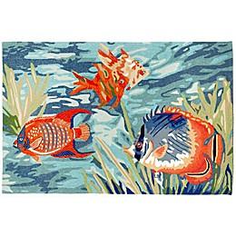Trans-Ocean Ravella Tropical Fish Ocean Indoor/Outdoor Rug in Blue