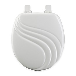 Mayfair Round Swirl Molded Wood Toilet Seat in White with Easy Clean & Change™ Hinge