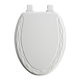 Mayfair Ivy Elongated Molded Wood Toilet Seat in White with Easy Clean & Change™ Hinge