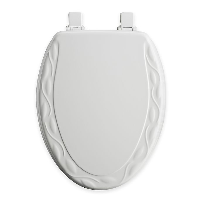 Alternate image 1 for Mayfair Ivy Elongated Molded Wood Toilet Seat in White with Easy Clean & Change™ Hinge