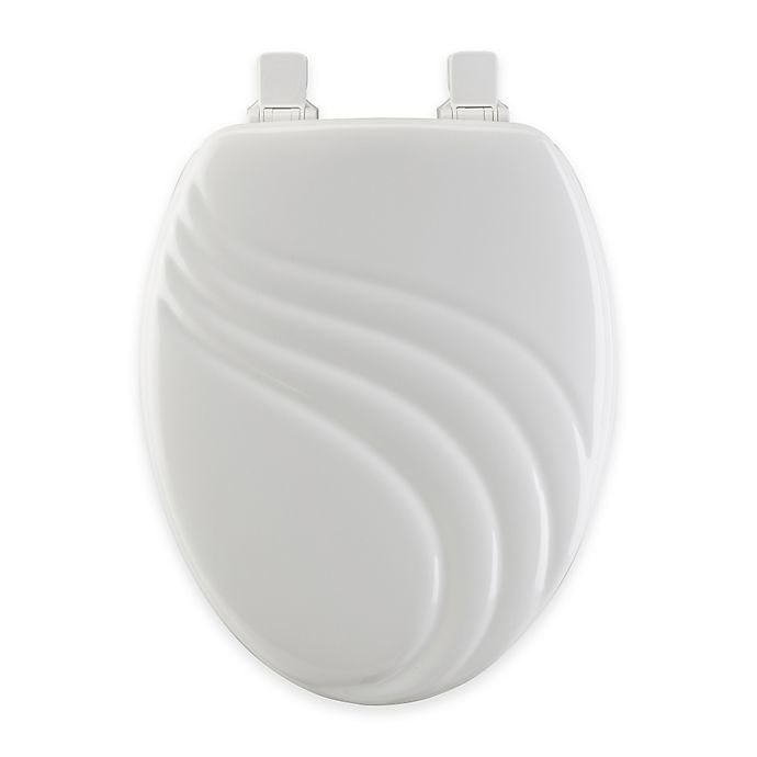 Alternate image 1 for Mayfair Swirl Elongated Molded Wood Toilet Seat in White with Easy Clean & Change™ Hinge