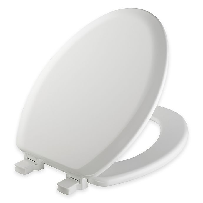 Mayfair Elongated Molded Wood Toilet Seat In White With
