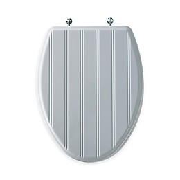 Mayfair Cottage Classic Elongated Molded Wood Toilet Seat in White with Chrome Hinge