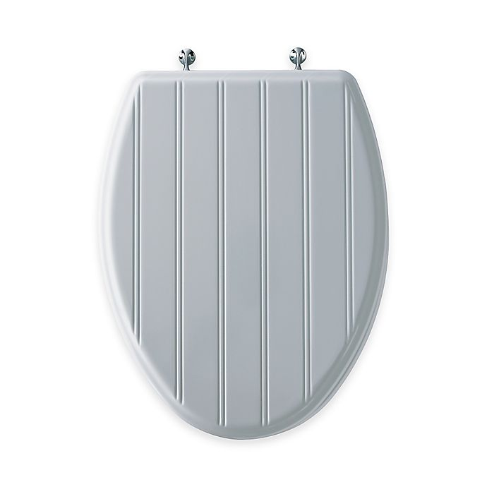 Alternate image 1 for Mayfair Cottage Classic Elongated Molded Wood Toilet Seat in White with Chrome Hinge