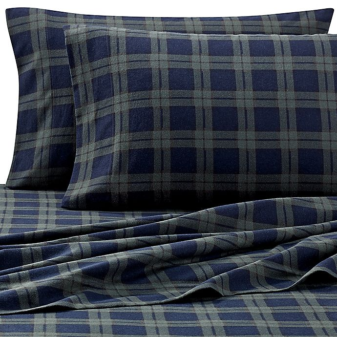 The Seasons Collection Heavyweight Flannel Sheet Set In Blackwatch Bed Bath Beyond