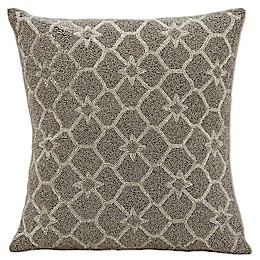 Mina Victory Beaded Stars Throw Pillow in Silver/Grey