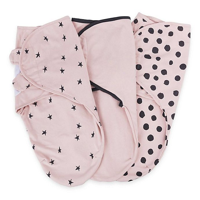 Alternate image 1 for Ely's & Co.® Size 3-6M 3-Pack Cotton Knit Swaddle Blankets in Pink