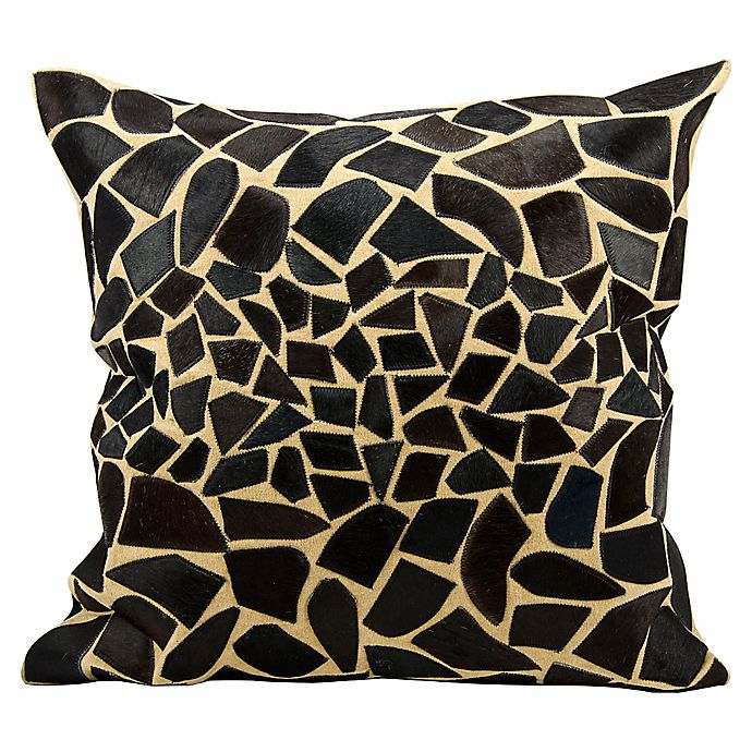 Alternate image 1 for Mina Victory Natural Leather Hide Giraffe Decorative Square Throw Pillow Collection in Black