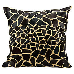 Mina Victory Natural Leather Hide Giraffe Decorative Square Throw Pillow Collection in Black