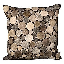 Mina Victory Natural Leather Hide Circles 20-Inch Square Throw Pillow