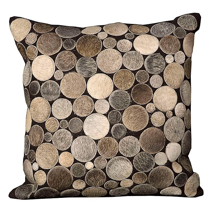 Alternate image 1 for Mina Victory Natural Leather Hide Circles 20-Inch Square Throw Pillow