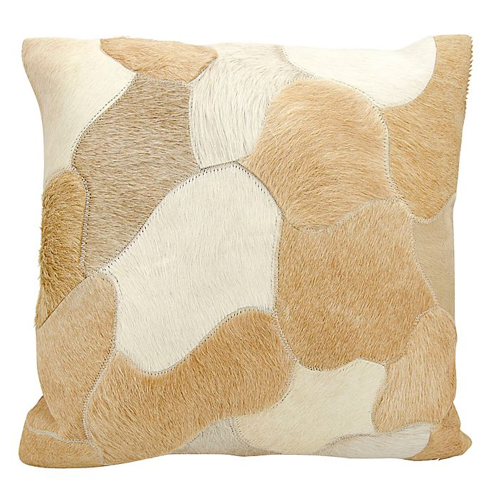 Alternate image 1 for Mina Victory Natural Leather Hide Jigsaw Puzzle Square Throw Pillow