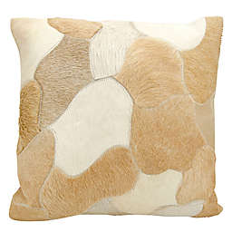 Mina Victory Natural Leather Hide Jigsaw Puzzle Square Throw Pillow