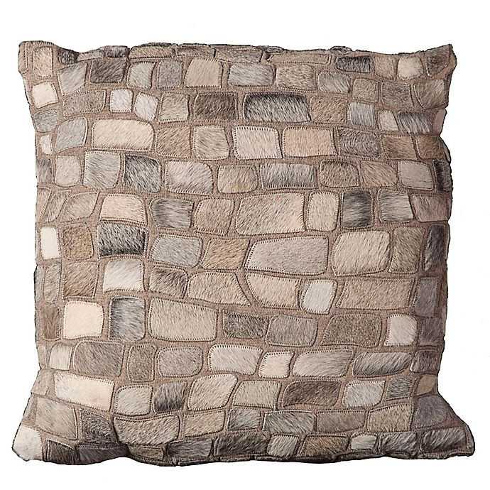 Alternate image 1 for Mina Victory Natural Leather Hide Pebbles Square Throw Pillow