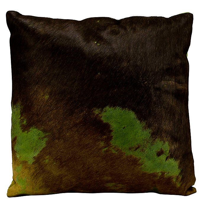 Alternate image 1 for Mina Victory Natural Leather Hide 2-Tone Square Throw Pillow