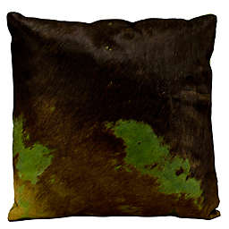 Mina Victory Natural Leather Hide 2-Tone Square Throw Pillow
