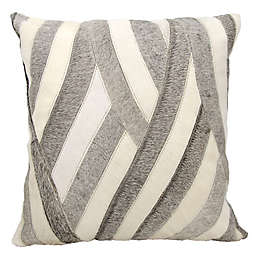 Mina Victory Natural Leather Hide Wavy Stripes Square Throw Pillow Collection
