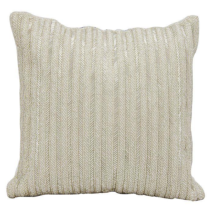 Alternate image 1 for Michael Amini™ Beaded Stripes Square Throw Pillow