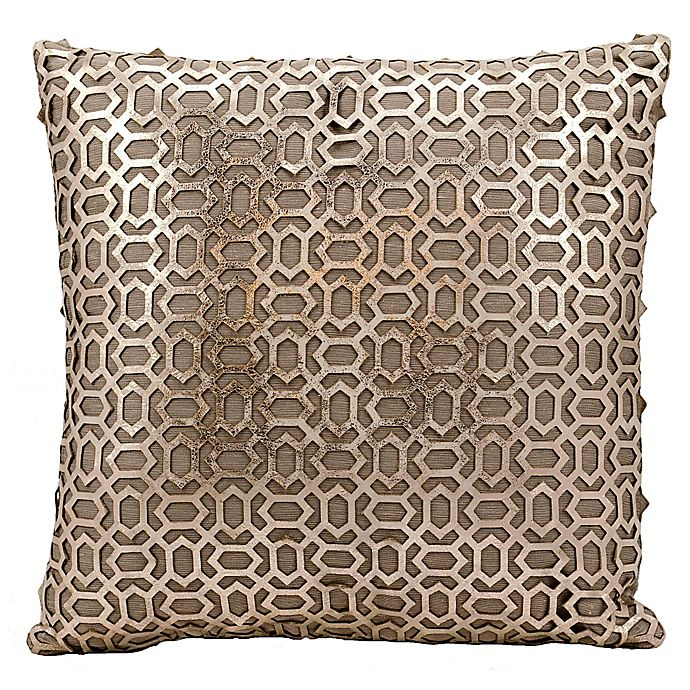 Alternate image 1 for Mina Victory Bias Laser Cut Natural Leather 18-Inch Square Throw Pillow