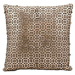 Mina Victory Bias Laser Cut Natural Leather 18-Inch Square Throw Pillow