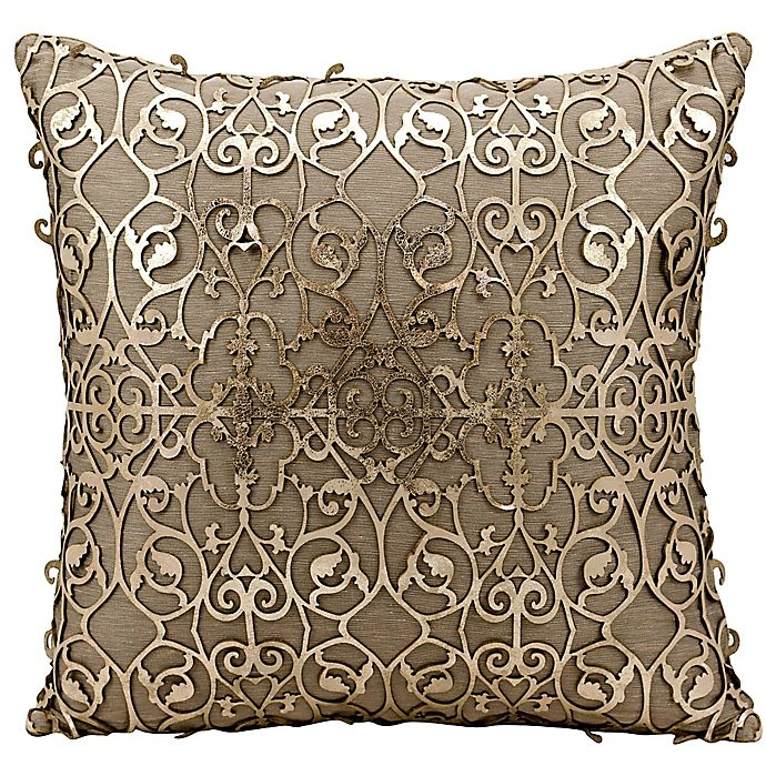 Alternate image 1 for Mina Victory Saray Laser Cut Natural Leather 18-Inch Square Throw Pillow