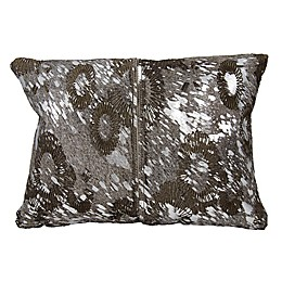 Mina Victory Couture Floral Natural Hide Throw Pillow in Silver