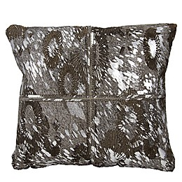Mina Victory Couture Floral Laser-Cut Square Throw Pillow in Silver