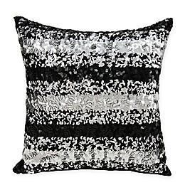 Michael Amini Sequin Stripe Throw Pillow in Black