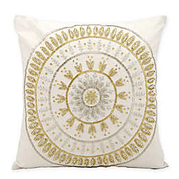Michael Amini Beaded Sun Square Throw Pillow in Ivory/Gold