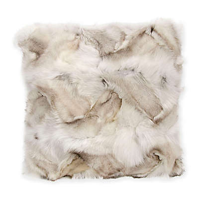 Mina Victory Couture Square Fox Skin Pillow in Silver