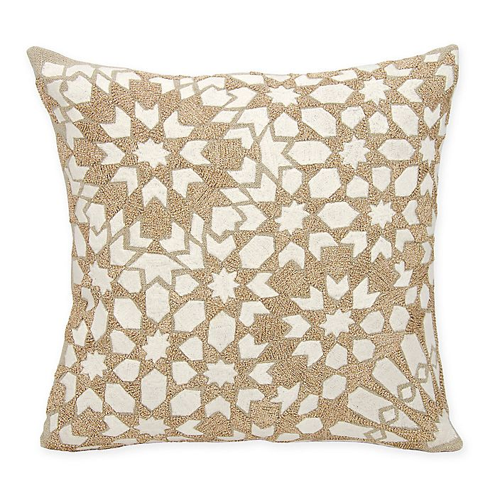 Alternate image 1 for Mina Victory Couture Gleaming Stars Square Throw Pillow in Ivory