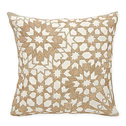 Mina Victory Couture Gleaming Stars Square Throw Pillow in Ivory