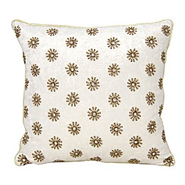 Mina Victory Couture Sun Shimmer Square Throw Pillow in Ivory