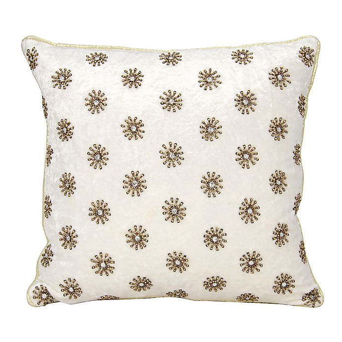 Alternate image 1 for Mina Victory Couture Sun Shimmer Square Throw Pillow in Ivory