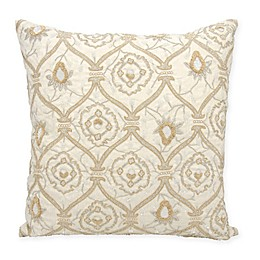 Mina Victory Couture Luster Maharani Square Throw Pillow in Ivory