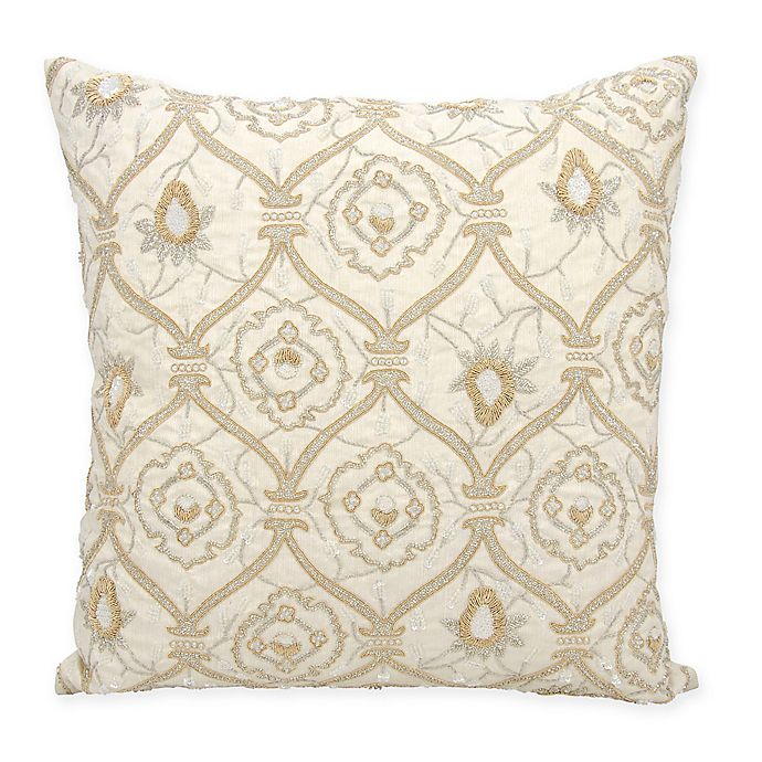 Alternate image 1 for Mina Victory Couture Luster Maharani Square Throw Pillow in Ivory